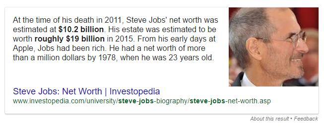 steve jobs rich snippet